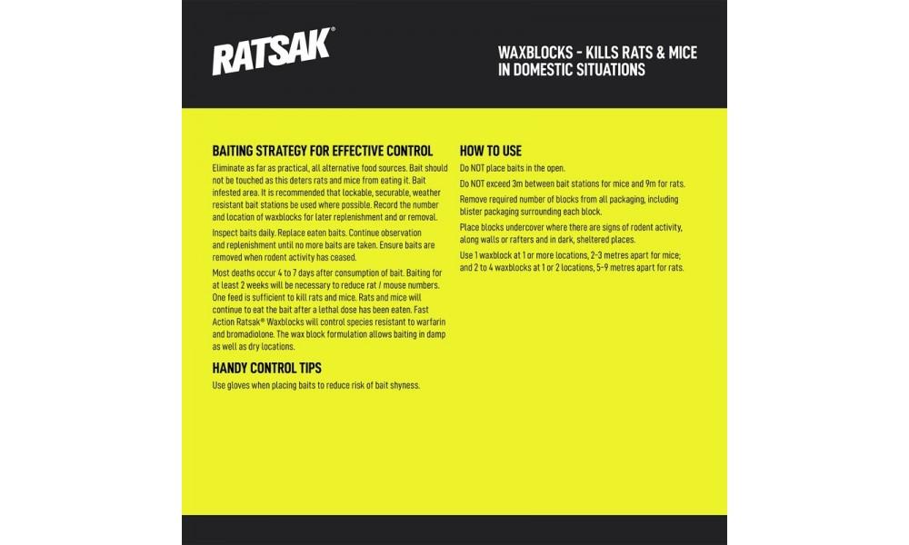 RATSAK Fast Action Wax Blocks 1kg